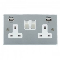 Hamilton Hartland Satin Chrome 2 Gang 13A Double Pole Switched Socket with USB Outlet and White Insert