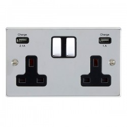 Hamilton Hartland Bright Chrome 2 Gang 13A Double Pole Switched Socket with USB Outlet and Black Insert