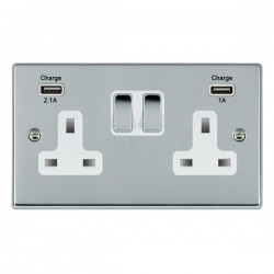 Hamilton Hartland Bright Chrome 2 Gang 13A Double Pole Switched Socket with USB Outlet and White Insert
