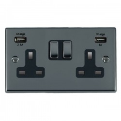 Hamilton Hartland Black Nickel 2 Gang 13A Double Pole Switched Socket with USB Outlet and Black Insert