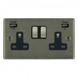 Hamilton Hartland Antique Brass 2 Gang 13A Double Pole Switched Socket with USB Outlet and Black Insert