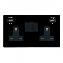 Hamilton Hartland CFX Black 2 Gang 13A Double Pole Switched Socket with USB Outlet and Black Insert