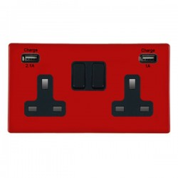 Hamilton Hartland CFX Red 2 Gang 13A Double Pole Switched Socket with USB Outlet and Black Insert