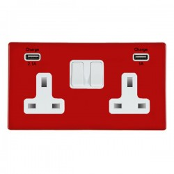 Hamilton Hartland CFX Red 2 Gang 13A Double Pole Switched Socket with USB Outlet and White Insert