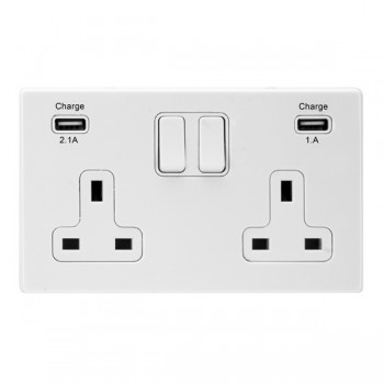 Hamilton Hartland CFX White 2 Gang 13A Double Pole Switched Socket with USB Outlet and White Insert