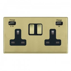 Hamilton Hartland CFX Polished Brass 2 Gang 13A Double Pole Switched Socket with USB Outlet and Black Insert