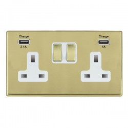Hamilton Hartland CFX Polished Brass 2 Gang 13A Double Pole Switched Socket with USB Outlet and White Insert