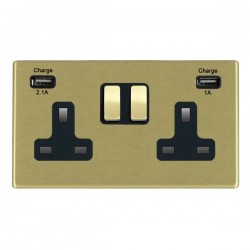Hamilton Hartland CFX Satin Brass 2 Gang 13A Double Pole Switched Socket with USB Outlet and Black Insert