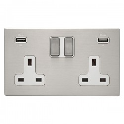 Hamilton Hartland CFX Satin Steel 2 Gang 13A Double Pole Switched Socket with USB Outlet and White Insert