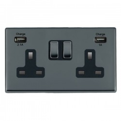 Hamilton Hartland CFX Black Nickel 2 Gang 13A Double Pole Switched Socket with USB Outlet and Black Insert