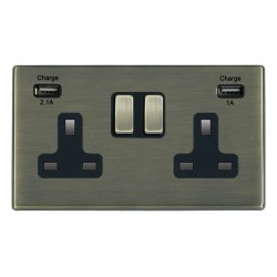 Hamilton Hartland CFX Antique Brass 2 Gang 13A Double Pole Switched Socket with USB Outlet and Black Insert