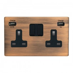 Hamilton Hartland CFX Copper Bronze 2 Gang 13A Double Pole Switched Socket with USB Outlet and Black Insert