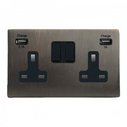 Hamilton Hartland CFX Etrium Bronze 2 Gang 13A Double Pole Switched Socket with USB Outlet and Black Insert