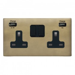 Hamilton Hartland CFX Connaught Bronze 2 Gang 13A Double Pole Switched Socket with USB Outlet and Black Insert
