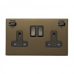 Hamilton Hartland CFX Richmond Bronze 2 Gang 13A Double Pole Switched Socket with USB Outlet and Black Insert