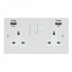 Hamilton Sheer Gloss White 2 Gang 13A Double Pole Switched Socket with USB Outlet and White Insert