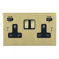 Hamilton Sheer Polished Brass 2 Gang 13A Double Pole Switched Socket with USB Outlet and Black Insert