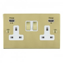 Hamilton Sheer Polished Brass 2 Gang 13A Double Pole Switched Socket with USB Outlet and White Insert