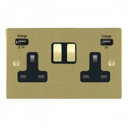 Hamilton Sheer Satin Brass 2 Gang 13A Double Pole Switched Socket with USB Outlet and Black Insert