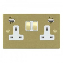 Hamilton Sheer Satin Brass 2 Gang 13A Double Pole Switched Socket with USB Outlet and White Insert
