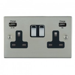 Hamilton Sheer Bright Steel 2 Gang 13A Double Pole Switched Socket with USB Outlet and Black Insert