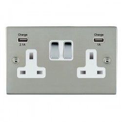 Hamilton Sheer Bright Steel 2 Gang 13A Double Pole Switched Socket with USB Outlet and White Insert