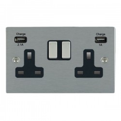 Hamilton Sheer Satin Steel 2 Gang 13A Double Pole Switched Socket with USB Outlet and Black Insert