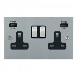 Hamilton Sheer Satin Chrome 2 Gang 13A Double Pole Switched Socket with USB Outlet and Black Insert