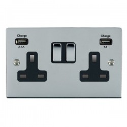 Hamilton Sheer Bright Chrome 2 Gang 13A Double Pole Switched Socket with USB Outlet and Black Insert