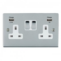 Hamilton Sheer Bright Chrome 2 Gang 13A Double Pole Switched Socket with USB Outlet and White Insert