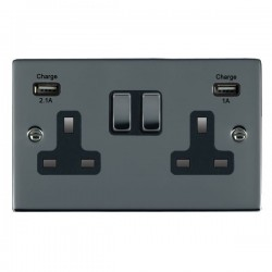 Hamilton Sheer Black Nickel 2 Gang 13A Double Pole Switched Socket with USB Outlet and Black Insert