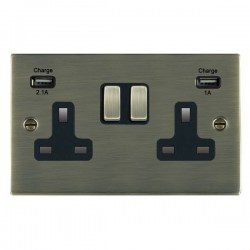 Hamilton Sheer Antique Brass 2 Gang 13A Double Pole Switched Socket with USB Outlet and Black Insert