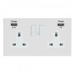 Hamilton Sheer CFX Gloss White 2 Gang 13A Double Pole Switched Socket with USB Outlet and White Insert