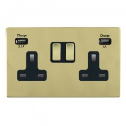 Hamilton Sheer CFX Polished Brass 2 Gang 13A Double Pole Switched Socket with USB Outlet and Black Insert