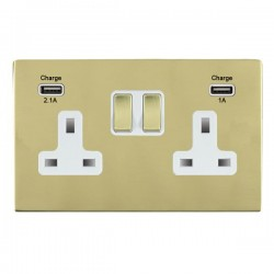 Hamilton Sheer CFX Polished Brass 2 Gang 13A Double Pole Switched Socket with USB Outlet and White Insert