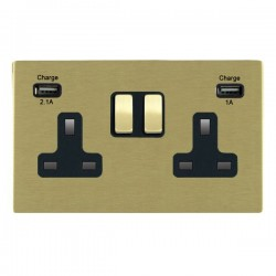 Hamilton Sheer CFX Satin Brass 2 Gang 13A Double Pole Switched Socket with USB Outlet and Black Insert