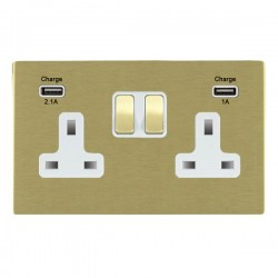 Hamilton Sheer CFX Satin Brass 2 Gang 13A Double Pole Switched Socket with USB Outlet and White Insert