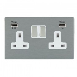 Hamilton Sheer CFX Satin Steel 2 Gang 13A Double Pole Switched Socket with USB Outlet and White Insert