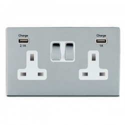 Hamilton Sheer CFX Bright Chrome 2 Gang 13A Double Pole Switched Socket with USB Outlet and White Insert