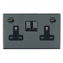Hamilton Sheer CFX Black Nickel 2 Gang 13A Double Pole Switched Socket with USB Outlet and Black Insert