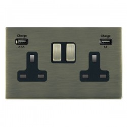 Hamilton Sheer CFX Antique Brass 2 Gang 13A Double Pole Switched Socket with USB Outlet and Black Insert