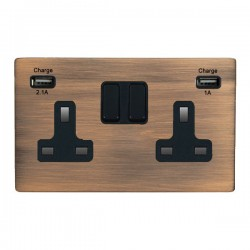 Hamilton Sheer CFX Copper Bronze 2 Gang 13A Double Pole Switched Socket with USB Outlet and Black Insert
