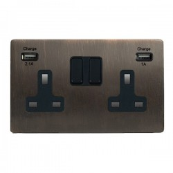 Hamilton Sheer CFX Etrium Bronze 2 Gang 13A Double Pole Switched Socket with USB Outlet and Black Insert