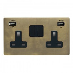 Hamilton Sheer CFX Connaught Bronze 2 Gang 13A Double Pole Switched Socket with USB Outlet and Black Insert