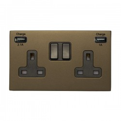 Hamilton Sheer CFX Richmond Bronze 2 Gang 13A Double Pole Switched Socket with USB Outlet and Black Insert