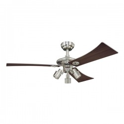 Westinghouse Audubon 48 Inch Brushed Nickel Ceiling Fan with Weathered Maple and Silver Blades