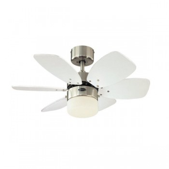 Westinghouse Flora Royale 30 Inch Satin Chrome Ceiling Fan with Silver and White Blades