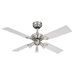 Westinghouse Pearl 42 Inch Stainless Steel Ceiling Fan with Light Maple and White Blades