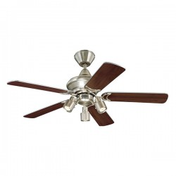 Westinghouse Kingston 42 Inch Brushed Aluminium Ceiling Fan with Weathered Maple and Silver Blades