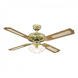 Westinghouse Monarch Trio 52 Inch Polished Brass Ceiling Fan with Oak Cane and Mahogany Blades
